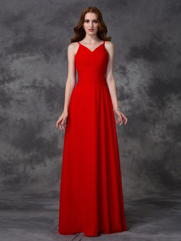 Chicregina A-line/Princess Spaghetti Straps Floor-length Chiffon Dress with Rhinestone Ruffles
