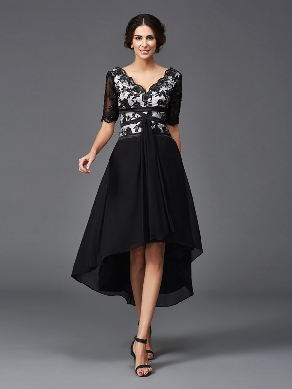 Chicregina A-Line/Princess 1/2 Sleeves V-neck Lace Chiffon Asymmetrical Dress with Rhinestone