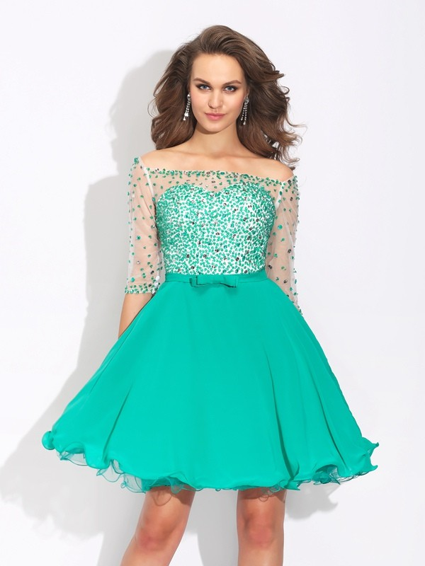 Chicregina A-Line/Princess Off-the-Shoulder 1/2 Sleeves Chiffon Short Dress with Embroidery