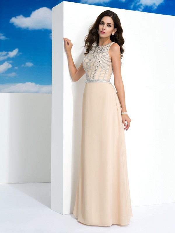 Chicregina Long A-Line/Princess Scoop Chiffon Dress with Embroidery Beading
