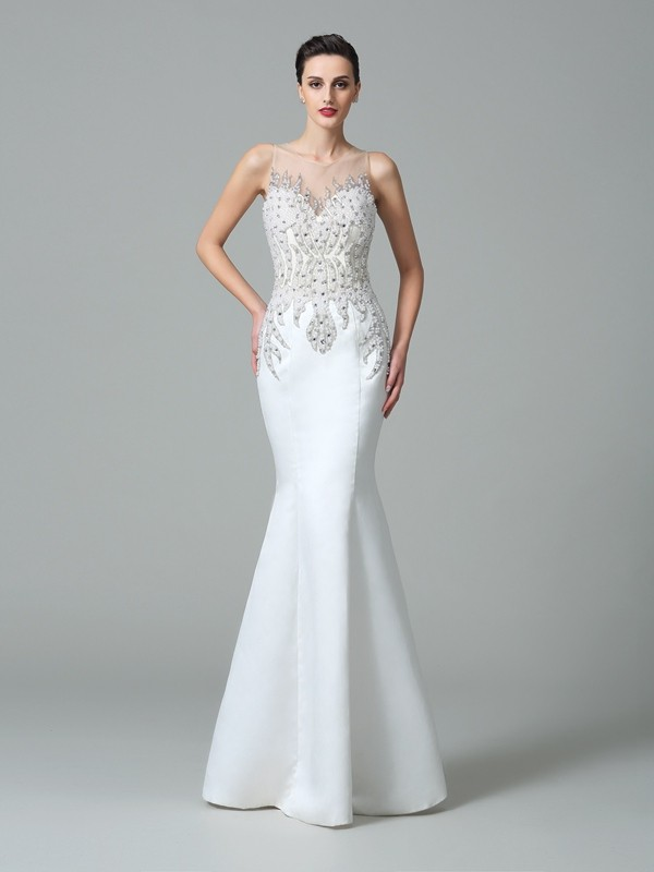 Chicregina Trumpet/Mermaid Sheer Neck Floor-Length Satin Dress with Beading Applique