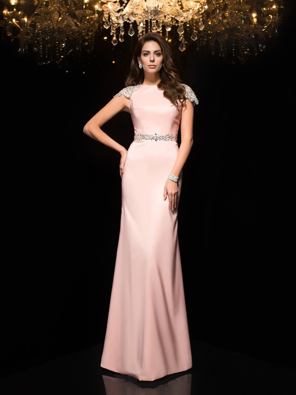 Chicregina Sheath/Column Jewel Short Sleeves Satin Floor-Length Dress with Beading