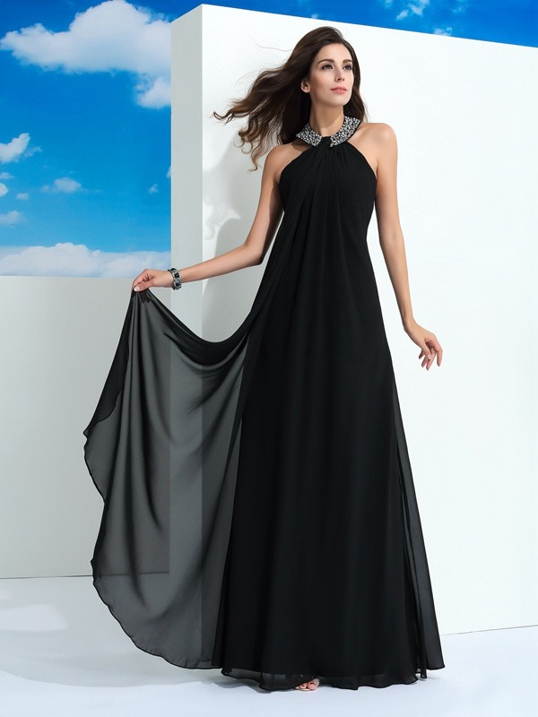 Black Chicregina A-Line/Princess Halter Chiffon Long Evening Dress with Pleats Beading