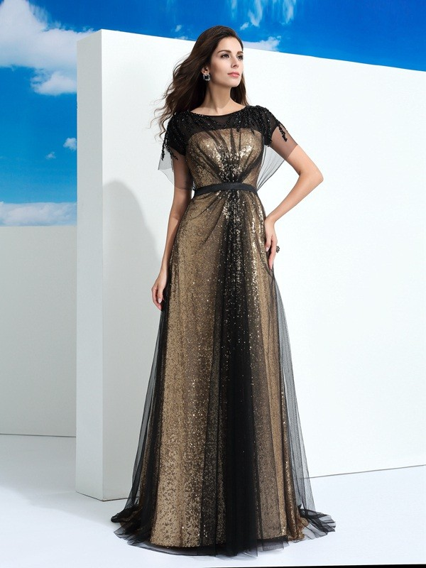 Chicregina Long A-Line/Princess Sheer Neck Short Sleeves Net Evening Dress with Sash Paillette