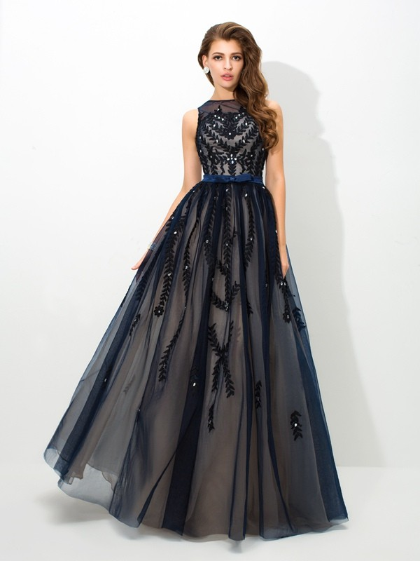 Chicregina A-Line/Princess Sheer Neck Floor-Length Tulle Dress with Beading Applique