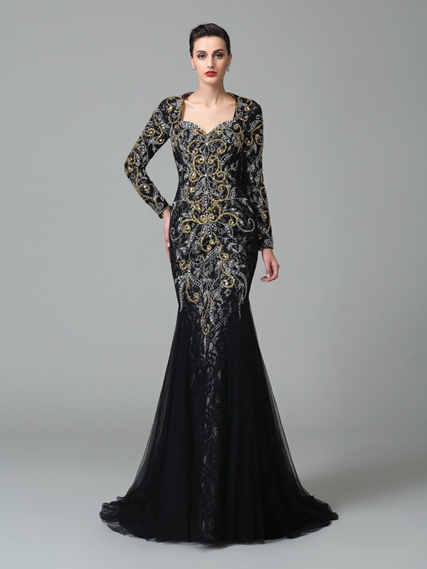 Chicregina Trumpet/Mermaid Sweetheart Long Sleeves Sweep/Brush Train Net Evening Dress with Sequin Beading