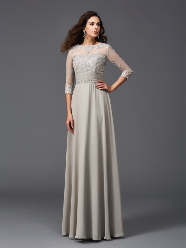 Chicregina Long A-Line/Princess Scoop 3/4 Sleeves Chiffon Evening Dress with Beading Applique