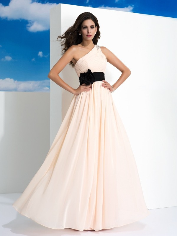 Chicregina A-Line/Princess One-Shoulder Floor-Length Chiffon Dress with Beading Sash/Ribbon/Belt