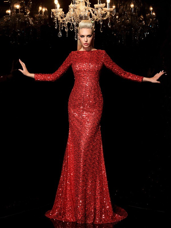 Chicregina Sheath/Column Scoop Long Sleeves Sweep/Brush Train Sequined Dress with Lace Sequin
