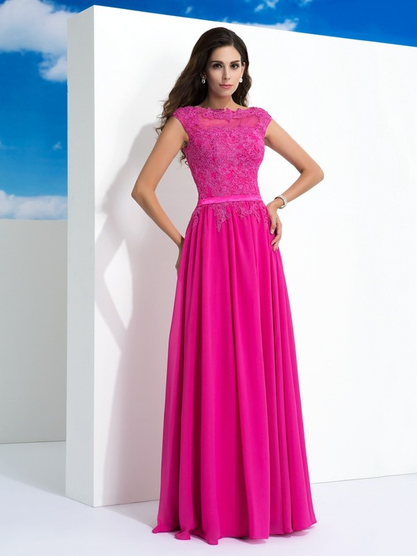 Chicregina A-Line/Princess Sheer Neck Lace Floor-Length Chiffon Dress with Beading