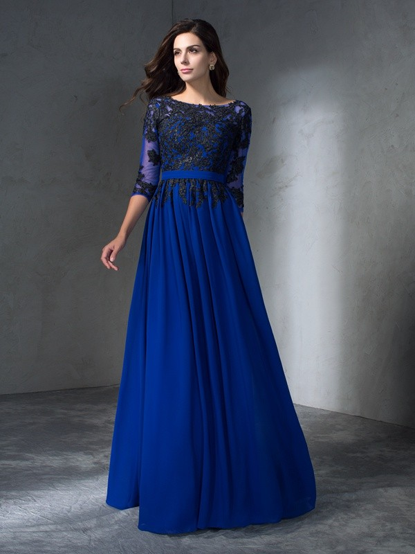Chicregina A-Line/Princess Scoop 3/4 Sleeves Floor-Length Chiffon Dress with Rhinestone Applique