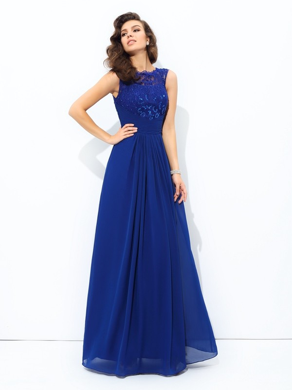 Chicregina A-Line/Princess Scoop Floor-length Chiffon Lace Dress with Sequin