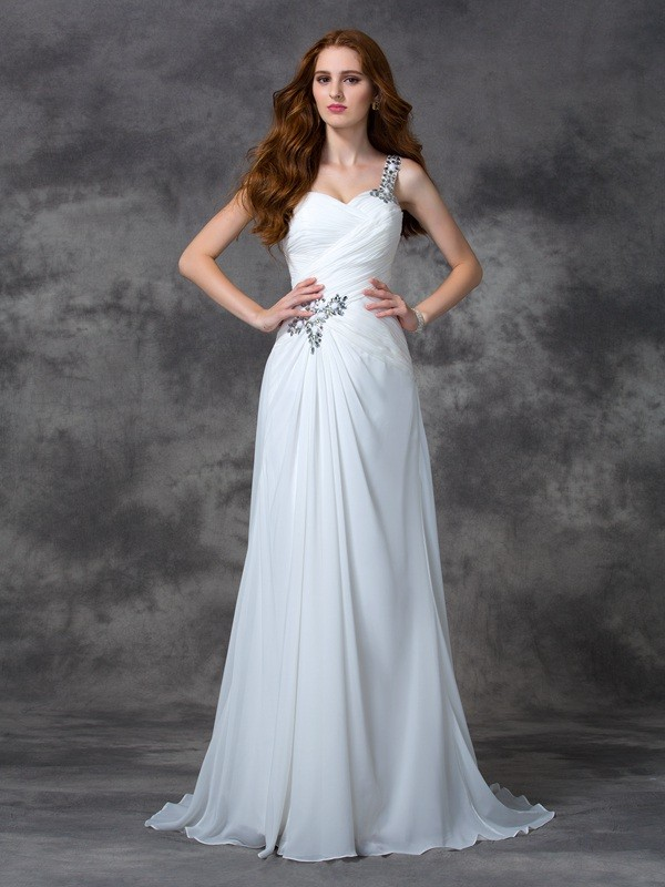 Chicregina A-line/Princess One-Shoulder Sweep/Brush Train Chiffon Dress with Applique Beading