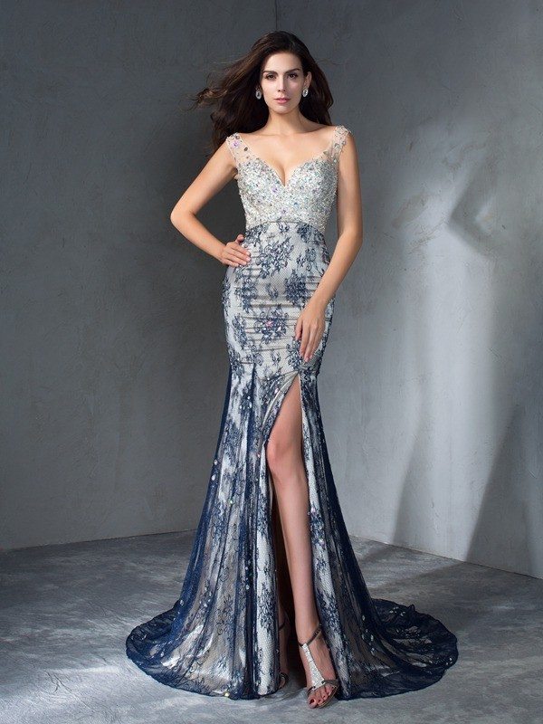 Chicregina Trumpet/Mermaid V-neck Sweep/Brush Train Lace Dress with Lace Beading