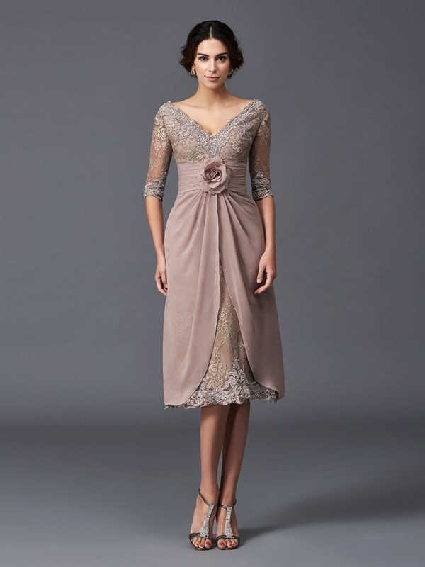 Chicregina A-Line/Princess 1/2 Sleeves V-neck Tea-Length Lace Mother of the Bride Dress with Beading Hand-Made Flower