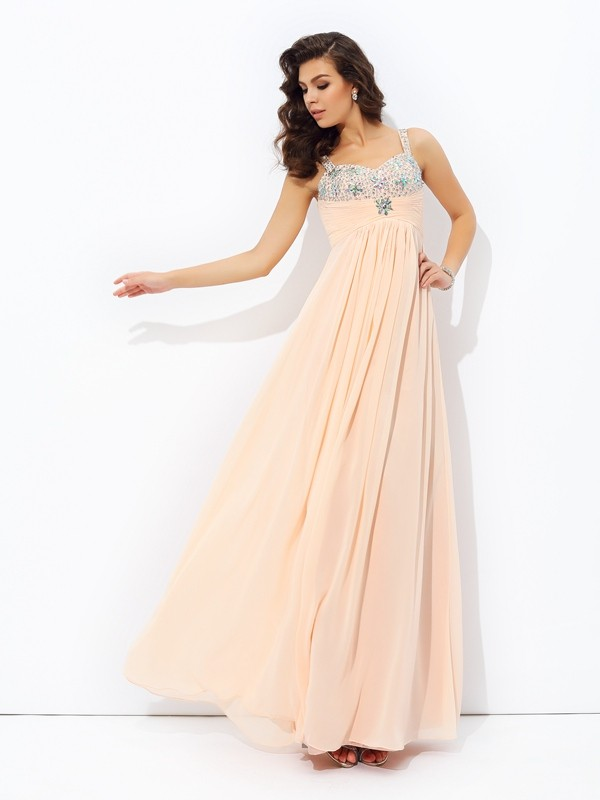 Chicregina Long A-Line/Princess Spaghetti Strap Chiffon Dress with Lace Beading
