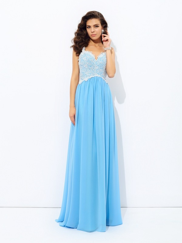 Chicregina Long A-Line/Princess V-neck Lace Chiffon Dress with Embroidery