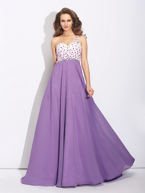 Chicregina A-Line/Princess One-Shoulder Sweep/Brush Train Chiffon Dress with Rhinestone Crystal