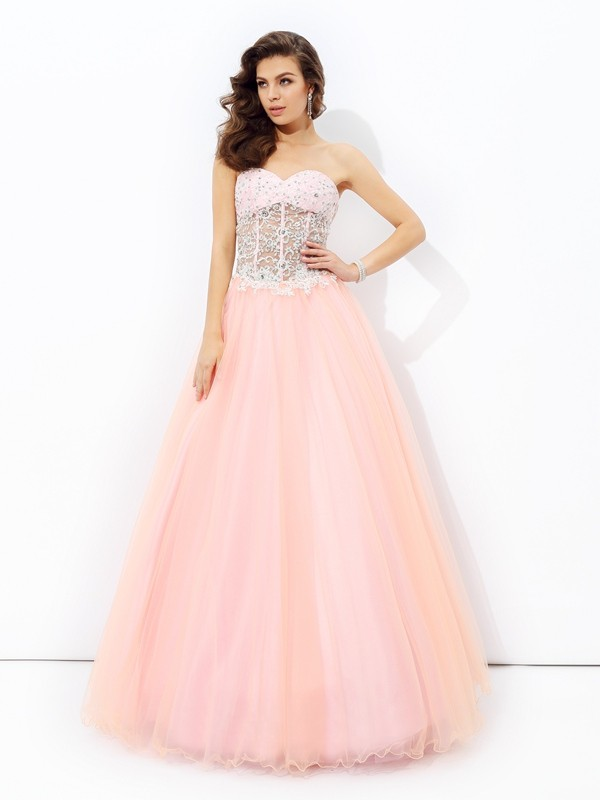 Chicregina Long A-Line/Princess Sweetheart Lace Net Dress with Sequin