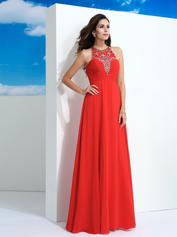 Chicregina Long A-Line/Princess Sheer Neck Chiffon Dress with Rhinestone Beading