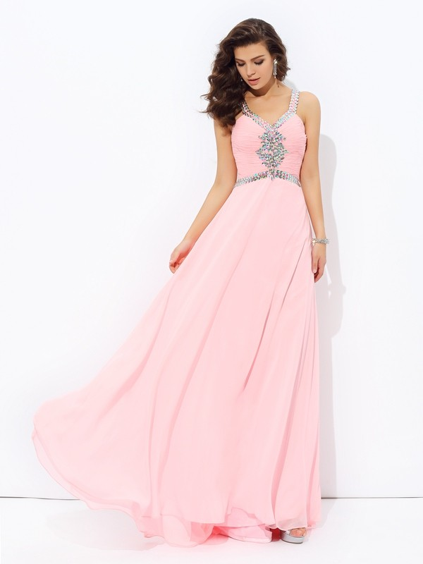 Chicregina A-Line/Princess Straps Floor-length Chiffon Dress with Pleats Beading