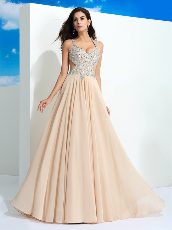 Chicregina A-Line/Princess Straps Sweep/Brush Train Chiffon Dress with Ruched Beading