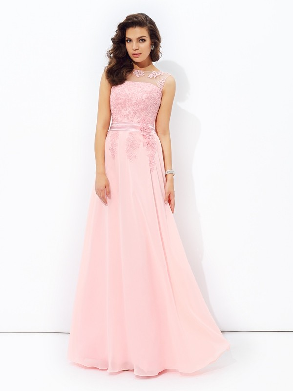 Chicregina Long A-Line/Princess Scoop Chiffon Dress with Sash Applique