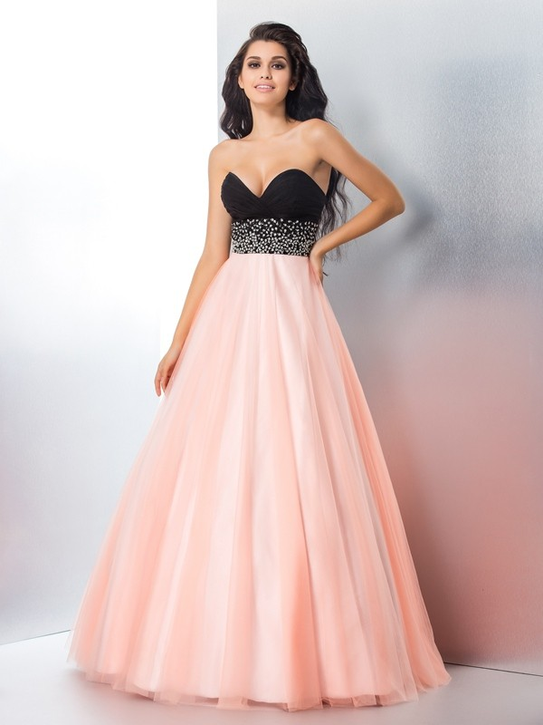 Chicregina Ball Gown Sweetheart Satin Floor-Length Dress with Embroidery
