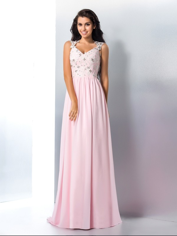 Chicregina A-Line/Princess V-neck Chiffon Sweep/Brush Train Dress with Beading Applique