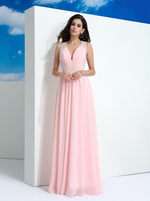 Chicregina Long A-Line/Princess Straps Chiffon Dress with Embroidery Beading