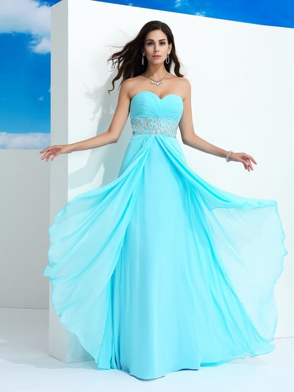 Chicregina A-Line/Princess Sweetheart  Floor-Length Chiffon Dress with Sequin Beading