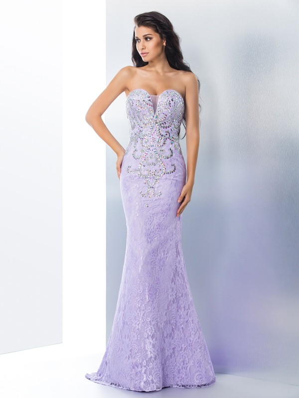 Chicregina Trumpet/Mermaid Sweetheart Lace Sweep/Brush Train Dress with Sash