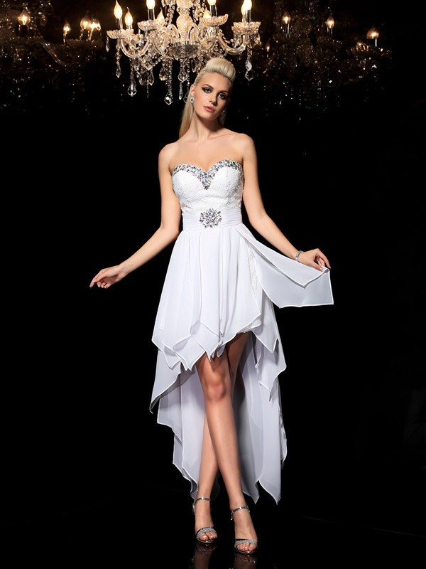 Chicregina A-Line/Princess Sweetheart Asymmetrical Chiffon Cocktail Dress with Beading
