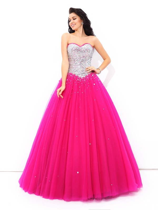 Chicregina Long Ball Gown Sweetheart Satin Quinceanera Dress with Rhinestone