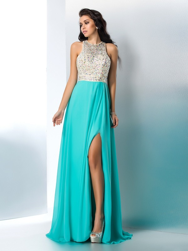 Chicregina A-Line/Princess Scoop Chiffon Floor-Length Dress with Rhinestone