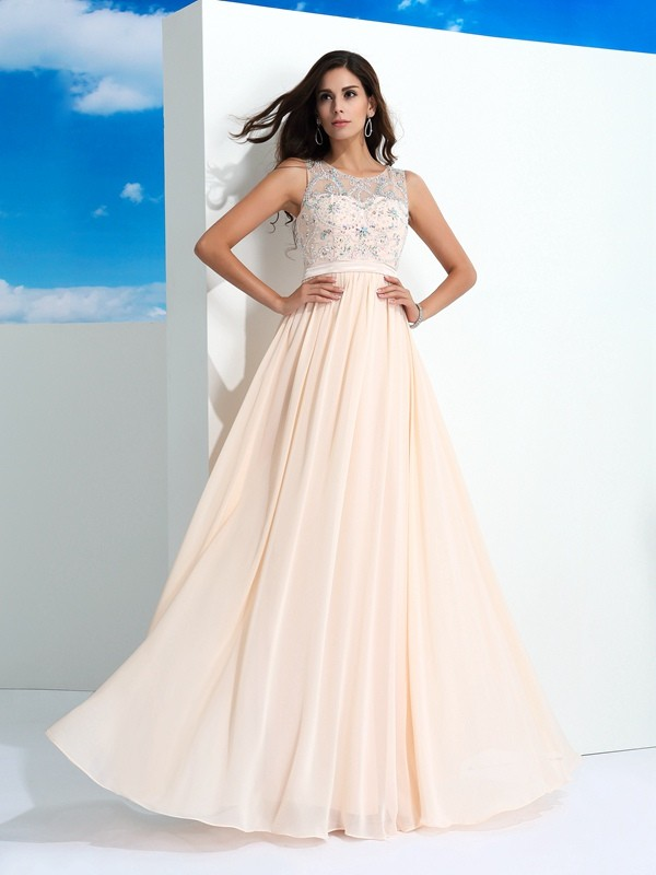 Chicregina A-Line/Princess Sheer Neck Floor-Length Chiffon Dress with Sash