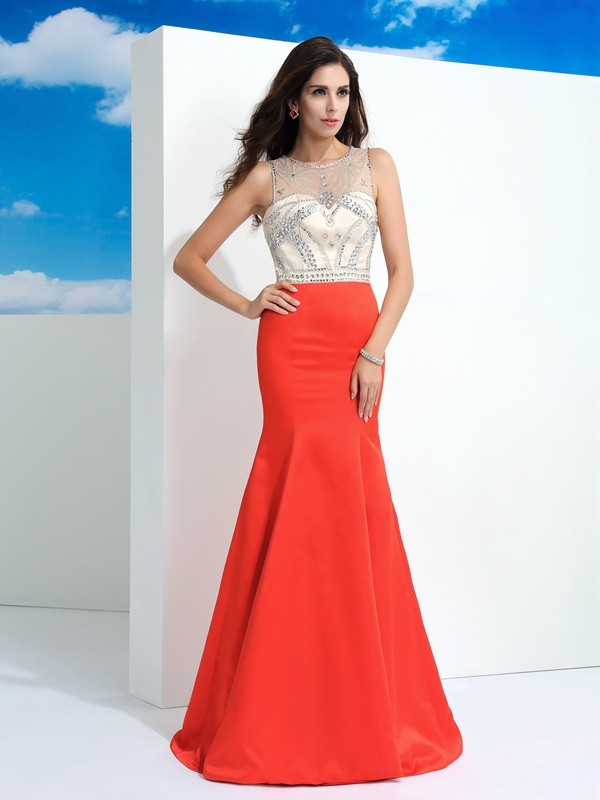 Chicregina Trumpet/Mermaid Sheer Neck Floor-Length Satin Dress with Ruffles