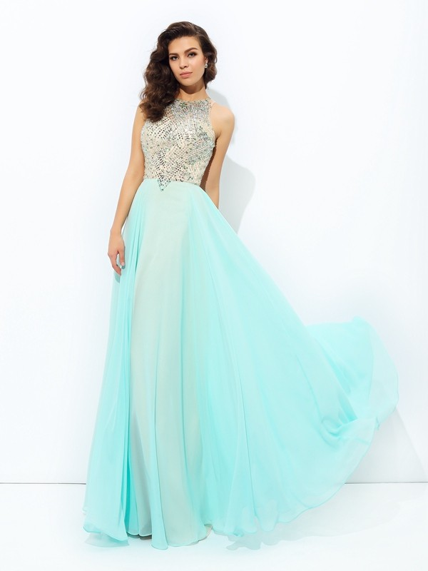 Chicregina A-Line/Princess Jewel Floor-Length Chiffon Dress with Beading