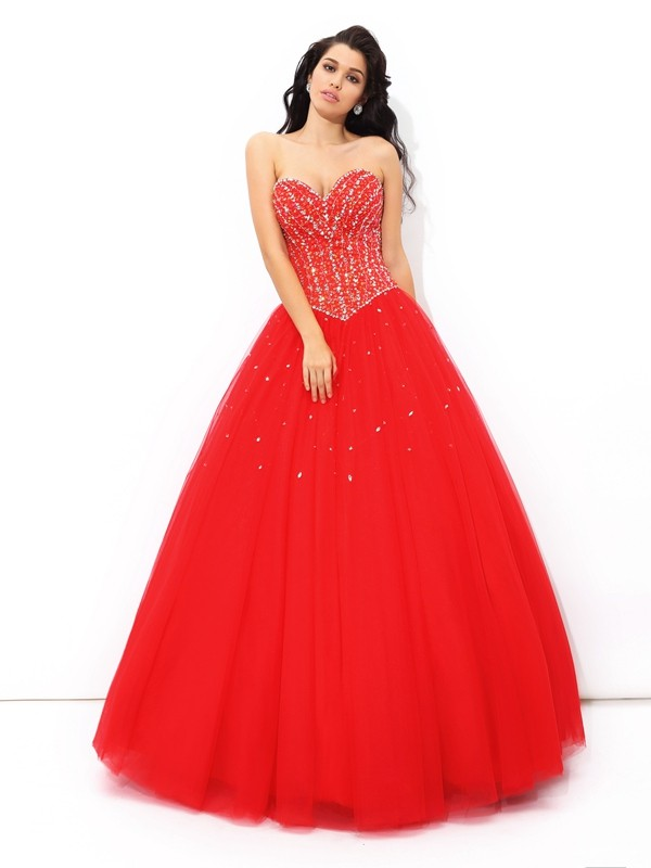 Chicregina Ball Gown Sweetheart Floor-Length Net Quinceanera Dress with Ruched Beading