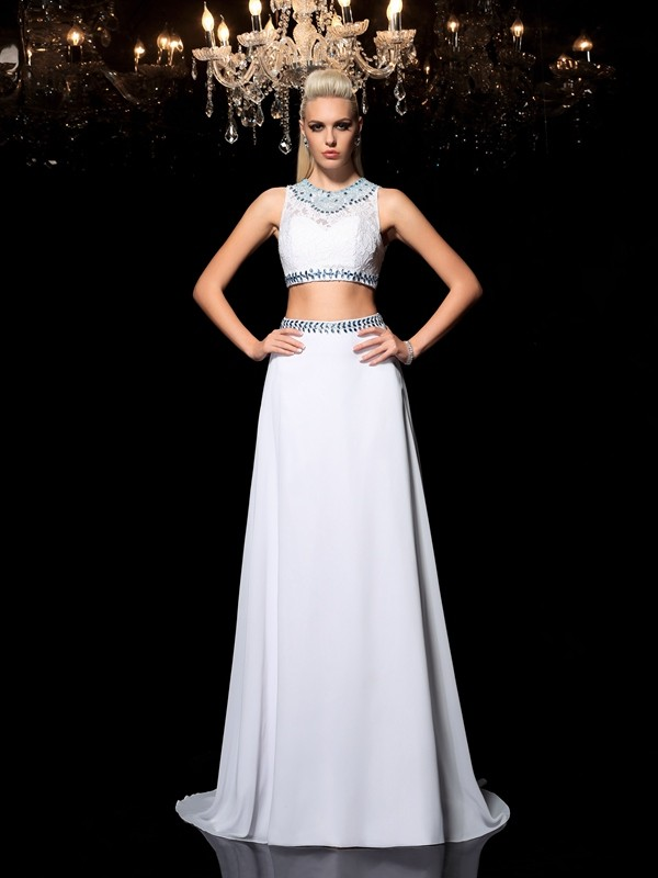 Chicregina A-Line/Princess Jewel Floor-Length Chiffon Two Piece Dress with Ruffles Beading