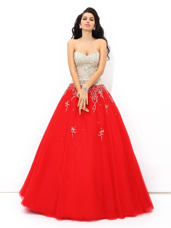 Chicregina Ball Gown Sweetheart Floor-Length Satin Quinceanera Dress with Lace Beading