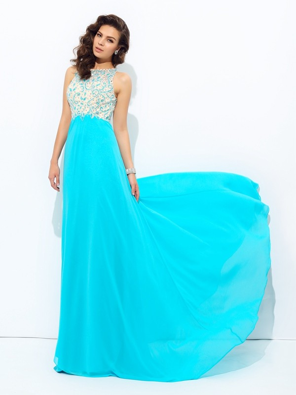 Chicregina A-Line/Princess Scoop Chiffon Floor-Length Dress with Rhinestone Beading