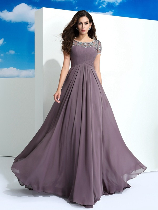 Chicregina A-Line/Princess Sheer Neck Short Sleeves Floor-Length Chiffon Dress with Beading