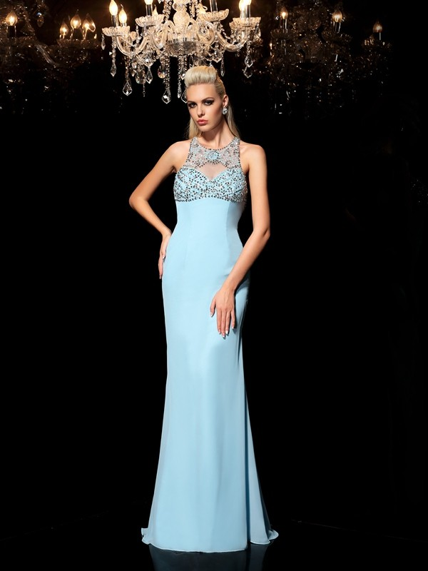 Chicregina Long Sheath/Column Sheer Neck Chiffon Dress with Beading