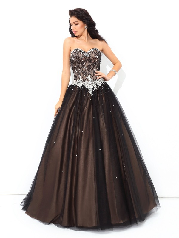 Chicregina Ball Gown Sweetheart Floor-Length Net Quinceanera Dress with Embroidery Beading