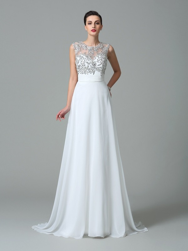 Chicregina A-Line/Princess Jewel Sweep/Brush Train Chiffon Dress with Rhinestone Beading