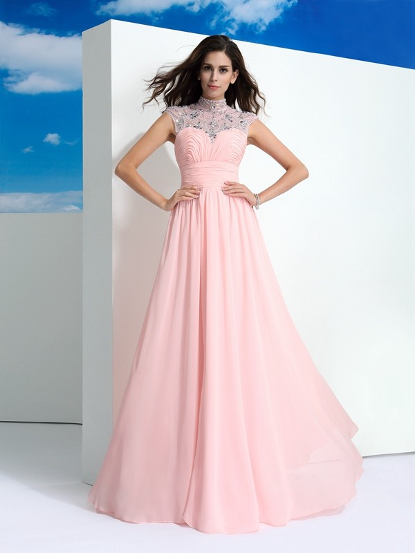 Chicregina A-Line/Princess Sheer Neck Beading Floor-Length Chiffon Dress with Ruched