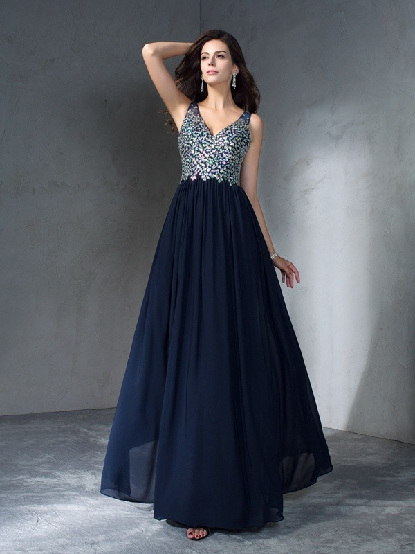 Chicregina A-Line/Princess V-neck Floor-Length Chiffon Dress with Beading