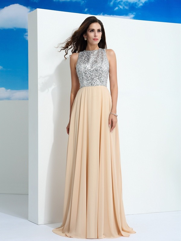 Chicregina A-Line/Princess Scoop Paillette Sweep/Brush Train Chiffon Dress with Beading
