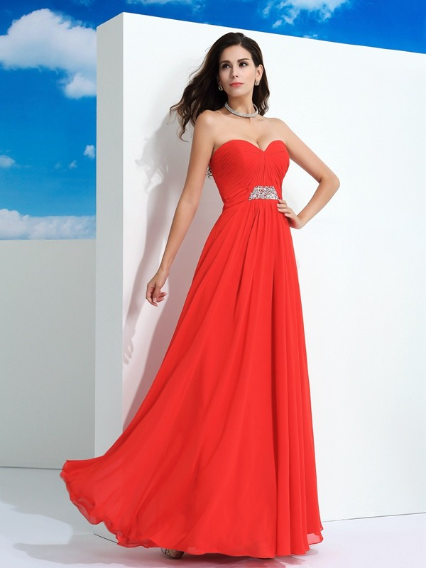 Chicregina A-Line/Princess Sweetheart Floor-Length Beading Chiffon Dress with Sequin